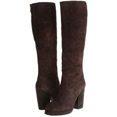 ASH Douglas (T. Moro Reverse Broken) Women's Zip Boots ($116) ❤ liked on Polyvore featuring shoes, boots, brown, knee-high boots, genuine leather boots, knee high boots, real leather boots, round toe boots and brown leather boots