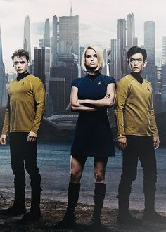 "Photo of Pavel Chekov (Anton Yelchin), Carol Marcus (Alice Eve) and Hikaru Sulu (John Cho) - ""Star Trek: Into Darkness"" - 2013."