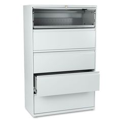 HON 801 Series Five-Drawer Lateral File, Roll-Out/Posting Shelves, 42w x 67h, Lt Gra, Gray
