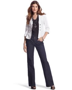 I was checking out the white blazer, but I actually like this entire look.  Love a good tailored jean!