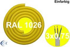 Textilleitung rund 3 x 0,75mm² leuchtgelb RAL1026 Synthetikgeflecht Textilkabel