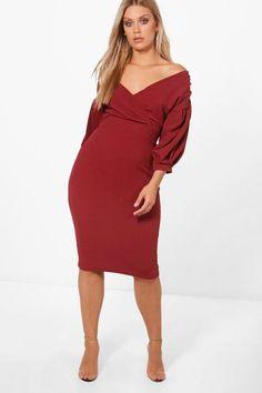 db261b0ffd4 Plus Taylor Off The Shoulder Wrap Midi Dress Curves Clothing