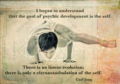 """I began to understand that the goal of psychic development is the self. There is no linear evolution; there is only a circumambulation of the self."""" Carl Gustav Jung."""