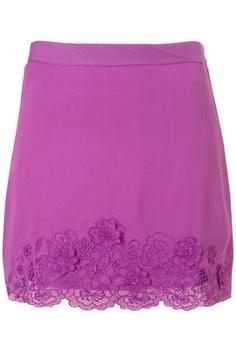 Purple Embroidered Hem Skirt - StyleSays