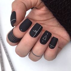 Manis That Will Make You Adore Squoval Nails – Nail Shapes Ideas - Nail art designs Matte Black Nails, Acrylic Nails Coffin Short, Square Acrylic Nails, Best Acrylic Nails, Shiny Nails, Black Nails Short, Coffin Nails, Nail Black, Squoval Acrylic Nails
