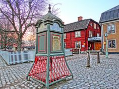 Gamla Linköping Sweden, Antique phone booth