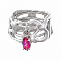 Sterling silver lacy ring with dangling pink topaz
