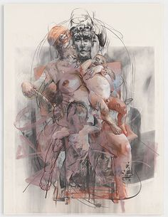 Credit: (c) 2012 Jenny Saville, image courtesy Gagosian Gallery Study for Isis and Horus, 2011 Figure Painting, Figure Drawing, Painting & Drawing, Jenny Saville Paintings, Gagosian Gallery, A Level Art, Gravure, Contemporary Paintings, Figurative Art