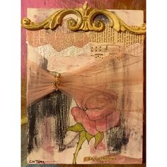 ROSE FLOWER Painting Mixed Media Painting Flowers Collage Art Bible... ($70) ❤ liked on Polyvore featuring home, home decor, wall art, blossom painting, rose painting, brown wall art, flower stem and flower home decor