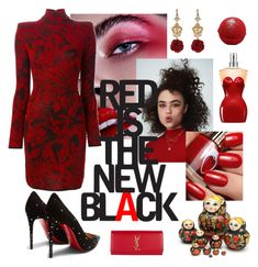 Red is the new black by sherasnow on Polyvore featuring polyvore, fashion, style, Balmain, Christian Louboutin, Yves Saint Laurent, Dolce&Gabbana, Jean-Paul Gaultier and clothing