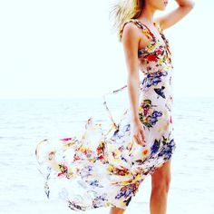 Flowerprint Silk chiffon dress , resort by Uli Herzner Design