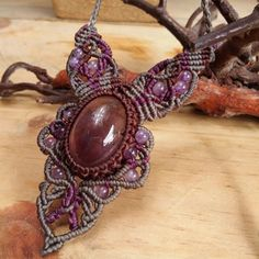 Macrame Necklace Pendant Amethyst Stone Cotton Waxed Cord Handmade Handwoven #Handmade #Wrap