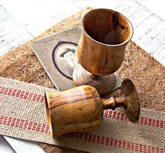 Vintage Olive Wood Stem Goblets Set of 2 by jmhallcuriosities, $14.00