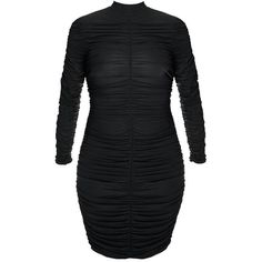 Plus Size Sheer Shirred Mesh Bodycon Mini Dress, Black ($35) ❤ liked on Polyvore featuring dresses, long sleeve short dress, plus size cocktail dresses, bodycon midi dress, long sleeve midi dress and long sleeve mini dress