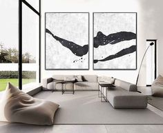 Set Of 2 Extra Large Acrylic Painting On Canvas, Minimalist Painting Canvas Art, Abstract Painting Landscape Wall Art Acrylic Painting Canvas, Canvas Wall Art, Minimal Art, Living Room Canvas, Black And White Painting, Black White, Minimalist Painting, Abstract Art, Modern Interiors