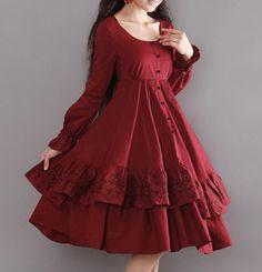 Rose Hem Long Sleeve Dress