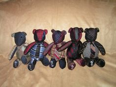 A great way to recycle old clothing, quilts, or fabric items once cherished by a loved one.  These bears were made from men's neckties.
