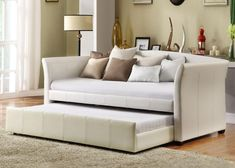 Great Trundle Bed Couch 79 With Additional Sofas and Couches Ideas with Trundle Bed Couch Daybed With Trundle Bed, White Daybed, Leather Daybed, Cool Couches, Sofa Inspiration, Kids Bedroom Sets, Sofa Couch, Relaxation Room, Layout
