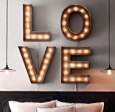 Decoração com letras iluminadas + DIY