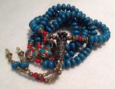 Tibetan Artisan Buddhist Mala 108 Prayer Beads Copper Turquoise Coral by SlightlyTwisted1 on Etsy