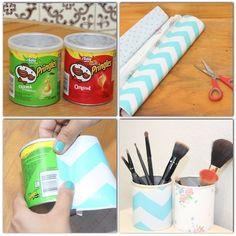Turn a small Pringles tube into a makeup/pencil/pen holder http://papercraftzone.co.uk #pringles tube #holder