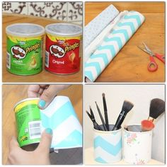 Turn a small Pringles tube into a makeup/pencil/pen holder http://papercraftzone.co.uk #pringles tube #holder