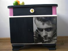 50's bedside cabinet with James Dean by RedVelvetFurniture on Etsy, €215.00