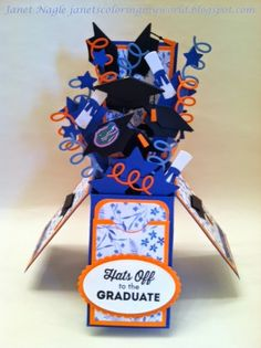 Stamps: My Favorite Things - LLD Happy Graduation Cardstock: Stampin' Up Brilliant Blue, Only Orange, Blue & white floral decorative paper...