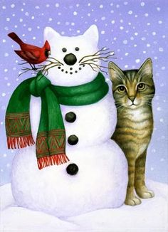 Snowcat by Stephanie Stouffer I Love Cats, Crazy Cats, Cool Cats, Christmas Animals, Christmas Cats, Christmas Puzzle, Xmas, Cat Embroidery, Memes Arte