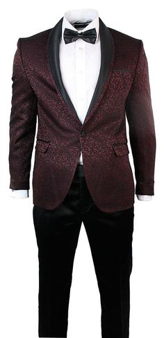 Mens Slim Fit Burgundy Black Embroidery Suit Round Shawl Collar Wedding Party