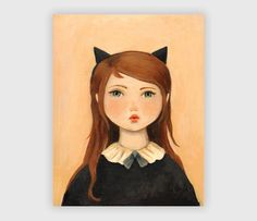 """Portrait with Cat Ears, 8""""x10"""", $18"""