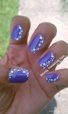 Purple nail polish with white polka dots on the nails! Dot Nail Art, Polka Dot Nails, Polka Dots, Nail Art Dotting Tool, Purple Nail Designs, Cute Nail Designs, Purple Nails With Design, Fingernail Designs, Nail Art Techniques