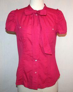 Marc by Marc Jacobs Cerise Pink Cotton Tie Neck Blouse Shirt Sz 8 #MarcbyMarcJacobs #Blouse