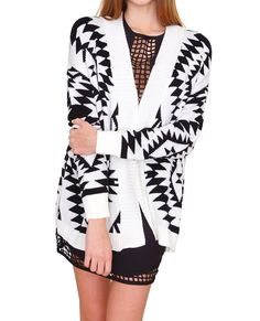 +Aztec inspired pattern and bold colored thigh length sweater cardigan