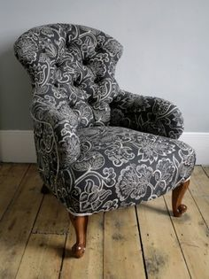 Re-upholstered iron-back nursing chair. Love the shape and the fabric. Chair Redo, Chair Makeover, Furniture Makeover, Furniture Ideas, Chair Reupholstery, Chair Repair, Victorian Chair, Nursing Chair, Wayfair Living Room Chairs