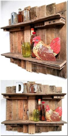 100 Ideas for Wood Pallet Recycling is part of Rustic Living Room Shelves - It is good to decorate the home in a proper way and if the person decides to adorn the home with the handmade items, then Wooden Pallet Shelves, Wooden Pallet Projects, Wood Pallet Furniture, Rustic Shelves, Pallet Art, Wooden Pallets, Wooden Diy, Pallet Ideas, Outdoor Furniture