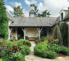 Courtyard with patio bench as focal point