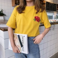 YOSH - Short-Sleeve Embroidered T-Shirt