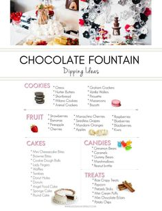 Chocolate makes everything better! Allow Dazzling Hospitality to show you how to execute your own chocolate fountain bar. Includes a FREE printable list of food ideas to dip at your next party.