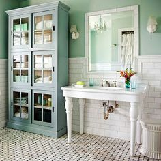 Love that sink!  Also the tile floor and the color scheme... all around lovely.  Kid friendly and easy to clean also...