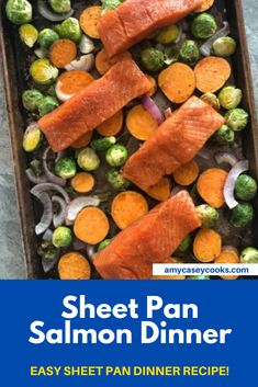 Maple Salmon Sheet Pan Dinner with Sweet Potatoes and Brussels Sprouts. A complete dinner recipe made in a single pan. Clean up is a breeze for this sweet and savory meal. This is an easy dinner for any night of the week.
