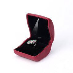Lily Treacy PU Leather EarringsCoinJewelryring BoxCase with Lighted up for ProposalEngagementWeddingGift Dark red * Learn more by visiting the image link. Note:It is Affiliate Link to Amazon.
