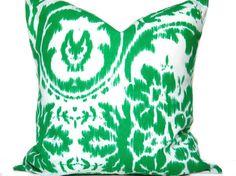 Ikat Pillow Cover Green White Repurposed Decorative 18x18. $15.00, via Etsy.