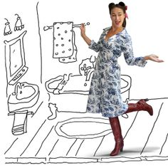 Nurse Coconut sturdy withe&blue dutch coatdress new door HouseofDots, €59.99