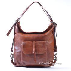 Torebka w kolorze przypalany brąz, wykonana ze skóry licowej. 3 w jedym: plecak, listonoszka, torba na ramię!
