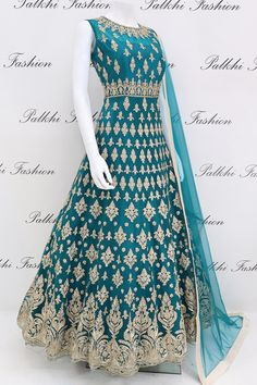 Fashion Design Drawing Stunning Teal Colored Designer Outfit with Elegant Handwork - Palkhi Fashion Exclusive teal designer floor length outfit featuring elegant petite stone Party Wear Indian Dresses, Designer Party Wear Dresses, Indian Gowns Dresses, Indian Bridal Outfits, Pakistani Bridal Dresses, Dress Indian Style, Indian Fashion Dresses, Indian Designer Outfits, Wedding Dresses