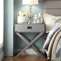 INSPIRE Q Kenton X Base Wood Accent Table | Overstock.com Shopping - The Best Deals on Nightstands