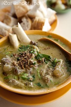 Soup Kambing - mutton soup, Indian style. Best way to have this is to eat it with French loaf.
