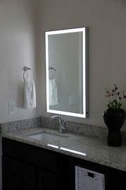 This Stylish LED Illuminated Mirror from Lighted Image is the must have addition to your home or office space. Featuring an Aluminum Frame and LED's around the edge, this stunning contemporary LED bathroom mirror will compliment any space. Bathroom Mirror Design, Bathroom Mirror Lights, Small Space Bathroom, Bathroom Wall Decor, Bathroom Colors, Bathroom Sets, Bathroom Flooring, Modern Bathroom, Bathroom Lighting