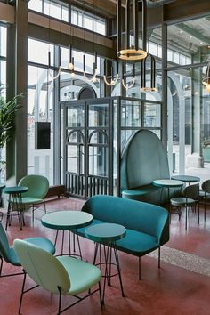 The beautiful buildings of the former Sphinx ceramics factory in Maastricht has been transformed by Studio Modijefsky into The Commons, a contemporary restaurant and bar for the site's new inhabitants – The Student Hotel. Cheap Dining Room Chairs, Wayfair Living Room Chairs, Leather Dining Chairs, Diy Interior Doors, Cafe Interior, Interior Design, Commercial Design, Commercial Interiors, Restaurant Furniture